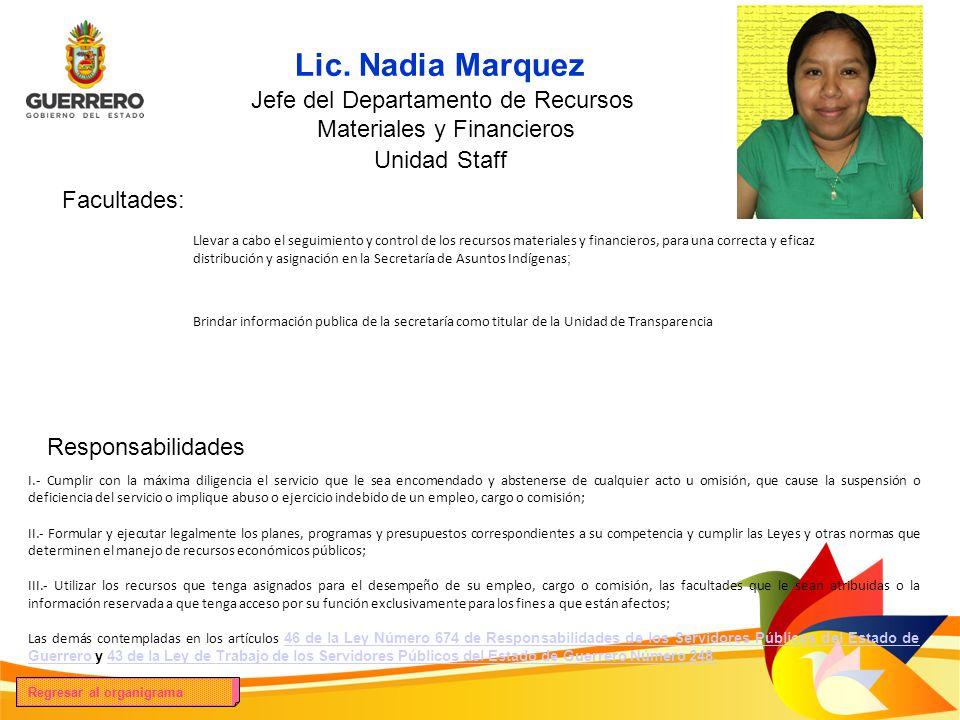 Lic. Nadia Marquez Foto del titular Jefe del Departamento de Recursos