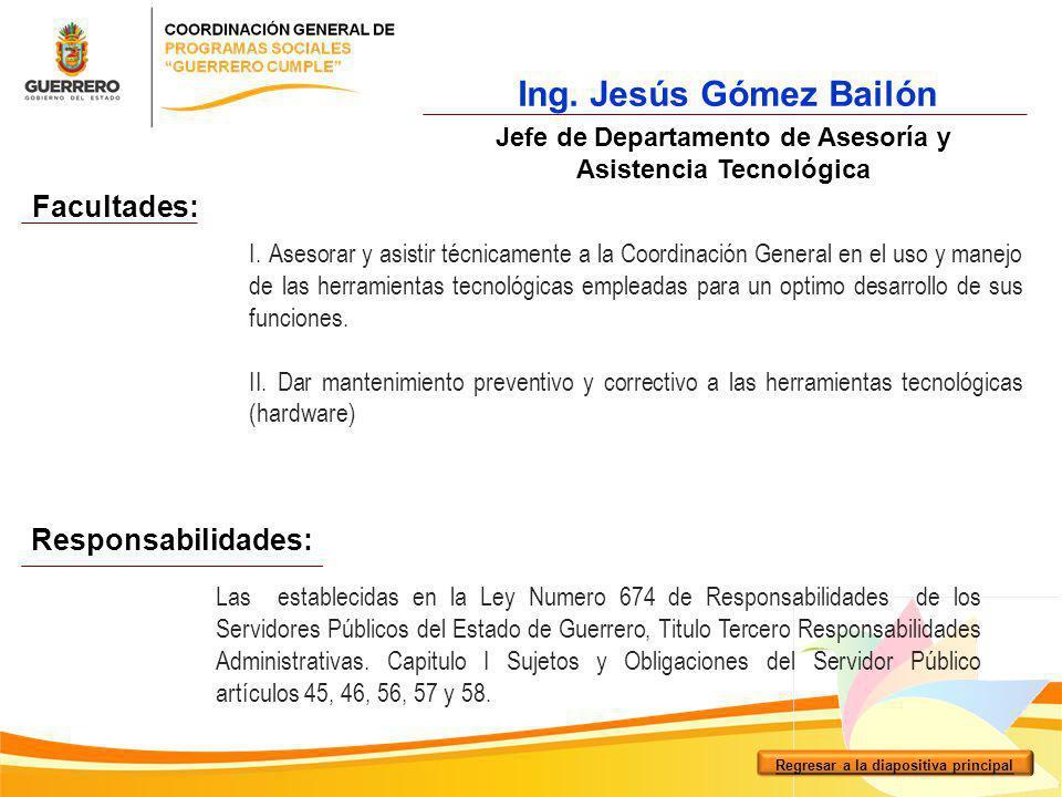 Ing. Jesús Gómez Bailón Facultades: Responsabilidades: