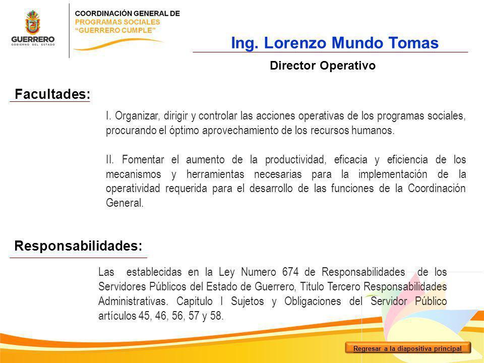 Ing. Lorenzo Mundo Tomas Regresar a la diapositiva principal