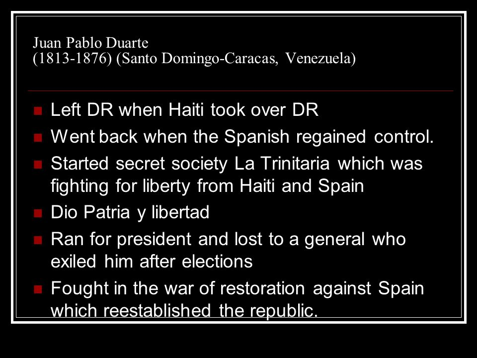 Juan Pablo Duarte (1813-1876) (Santo Domingo-Caracas, Venezuela)