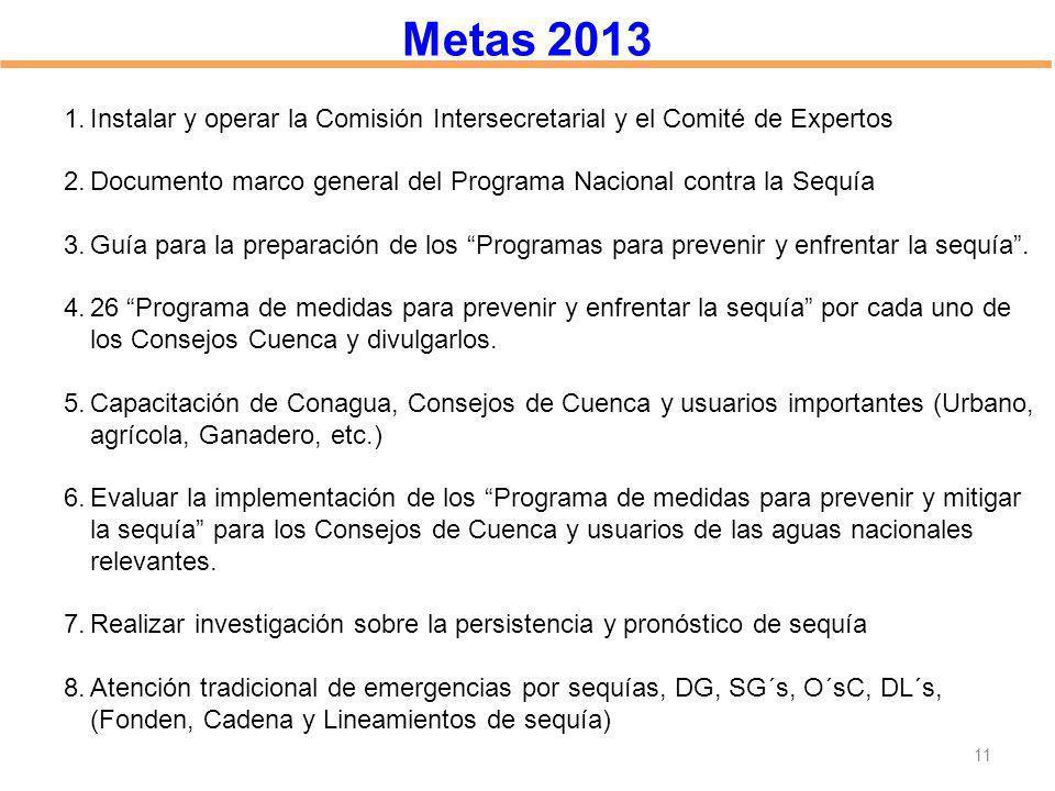 Metas 2013 Instalar y operar la Comisión Intersecretarial y el Comité de Expertos. Documento marco general del Programa Nacional contra la Sequía.