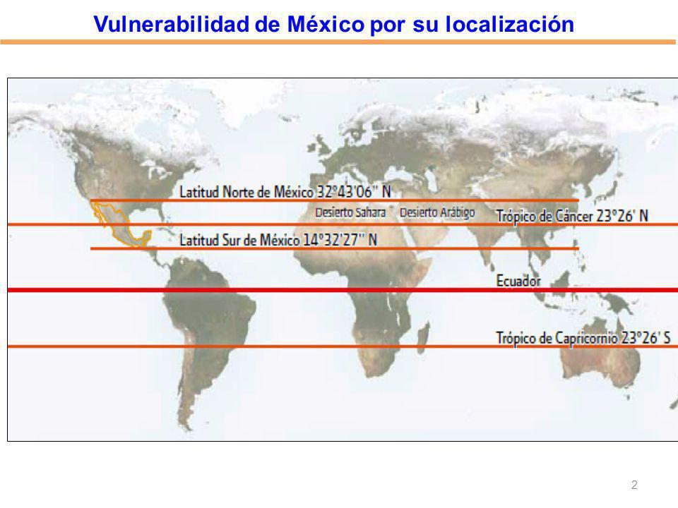 Vulnerabilidad de México por su localización
