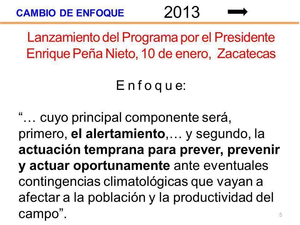 2013 CAMBIO DE ENFOQUE. Lanzamiento del Programa por el Presidente Enrique Peña Nieto, 10 de enero, Zacatecas.