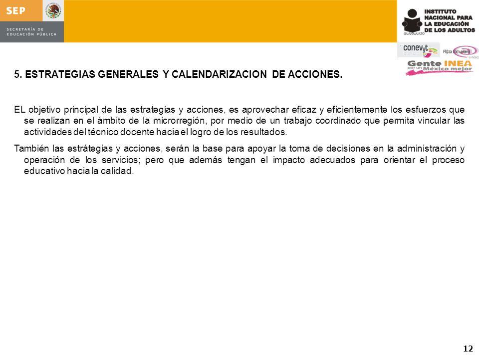 5. ESTRATEGIAS GENERALES Y CALENDARIZACION DE ACCIONES.