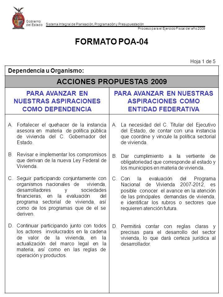 FORMATO POA-04 ACCIONES PROPUESTAS 2009