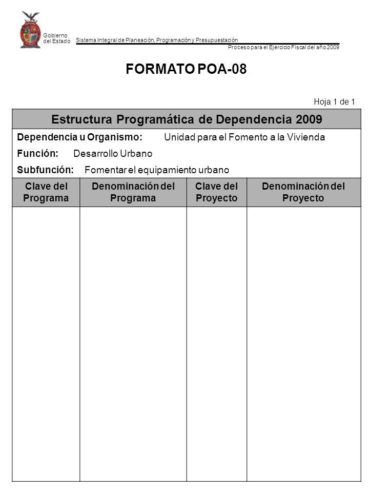FORMATO POA-08 Estructura Programática de Dependencia 2009