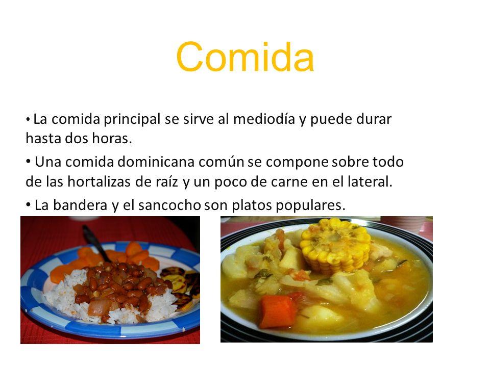 Comida La comida principal se sirve al mediodía y puede durar hasta dos horas.