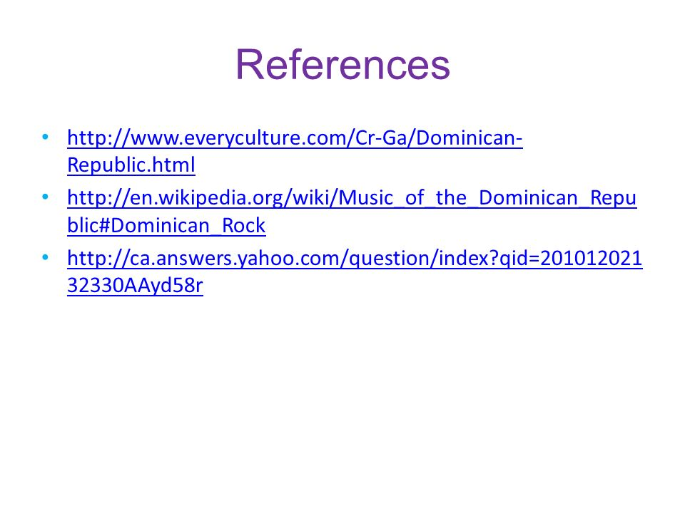References http://www.everyculture.com/Cr-Ga/Dominican-Republic.html