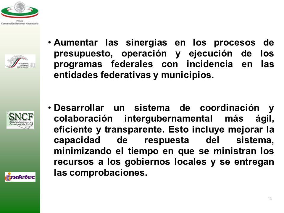 Aumentar las sinergias en los procesos de presupuesto, operación y ejecución de los programas federales con incidencia en las entidades federativas y municipios.