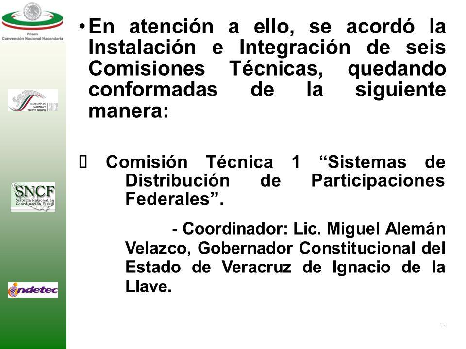 En atención a ello, se acordó la Instalación e Integración de seis Comisiones Técnicas, quedando conformadas de la siguiente manera: