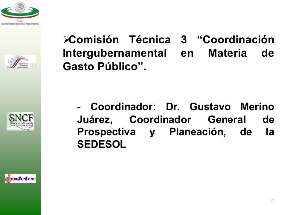 Comisión Técnica 3 Coordinación Intergubernamental en Materia de Gasto Público .