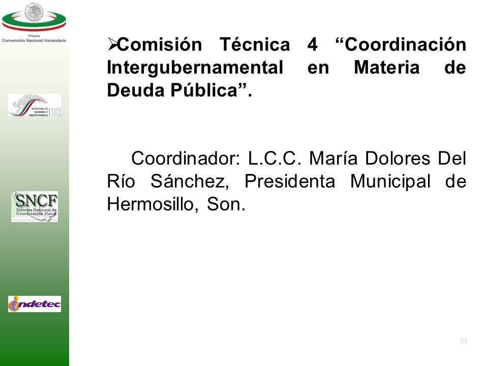 Comisión Técnica 4 Coordinación Intergubernamental en Materia de Deuda Pública .
