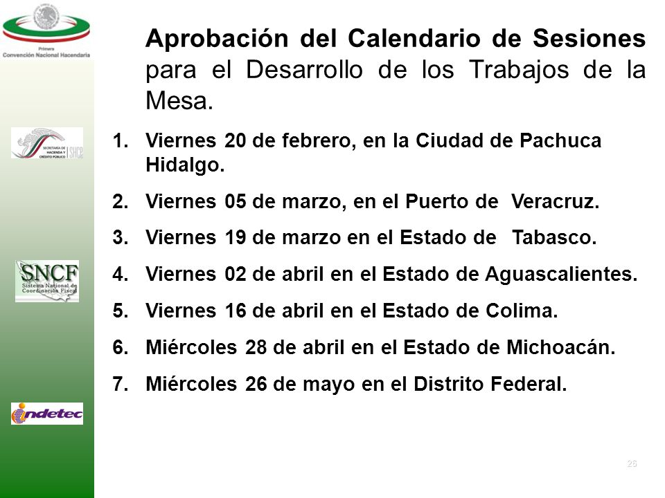 Aprobación del Calendario de Sesiones para el Desarrollo de los Trabajos de la Mesa.
