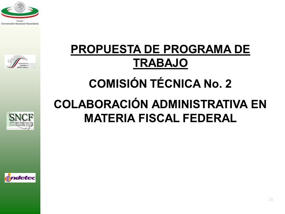 PROPUESTA DE PROGRAMA DE TRABAJO COMISIÓN TÉCNICA No. 2