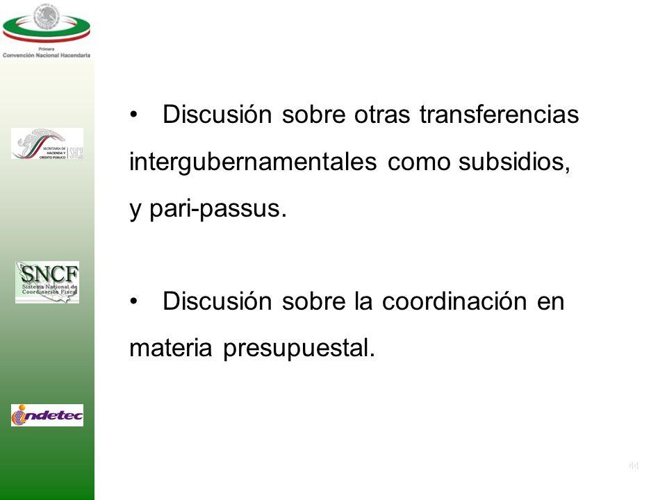 Discusión sobre otras transferencias