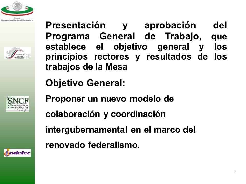 Presentación y aprobación del Programa General de Trabajo, que establece el objetivo general y los principios rectores y resultados de los trabajos de la Mesa