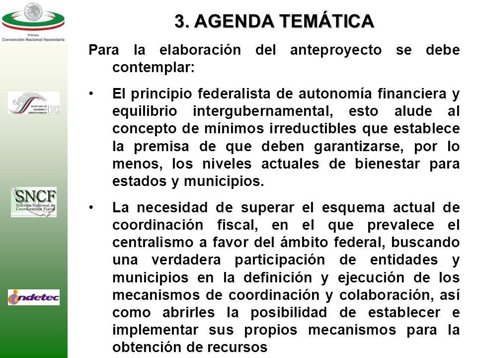 3. AGENDA TEMÁTICA Para la elaboración del anteproyecto se debe contemplar:
