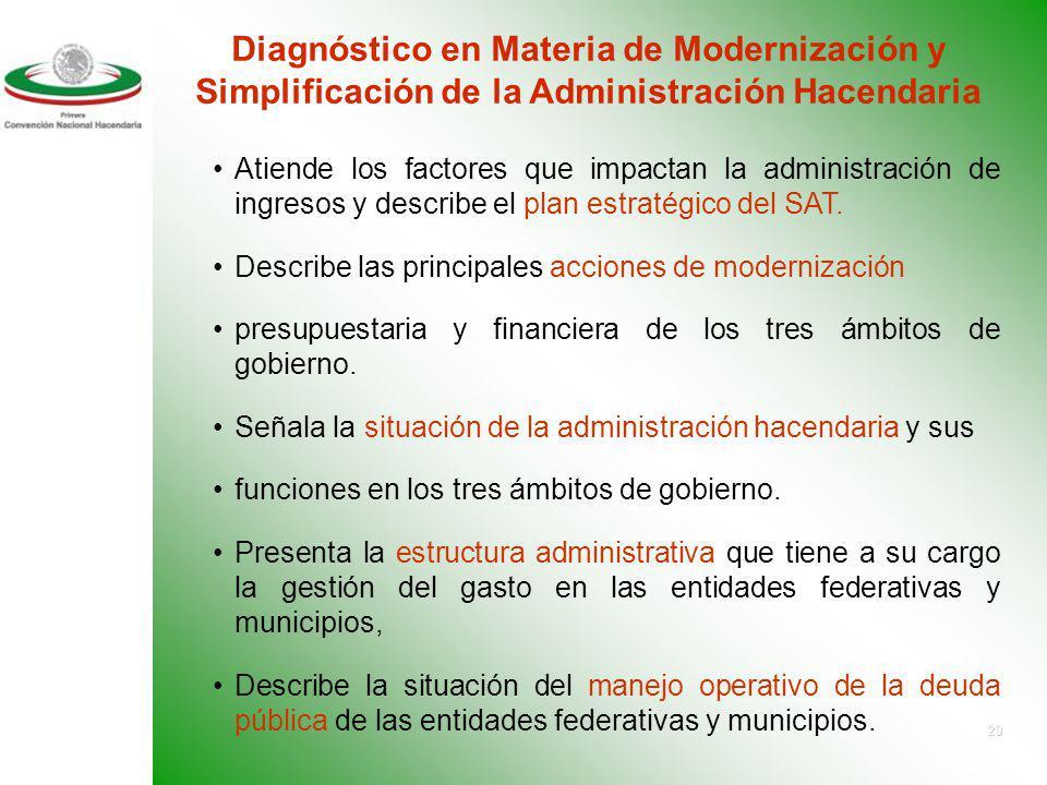 Diagnóstico en Materia de Modernización y Simplificación de la Administración Hacendaria