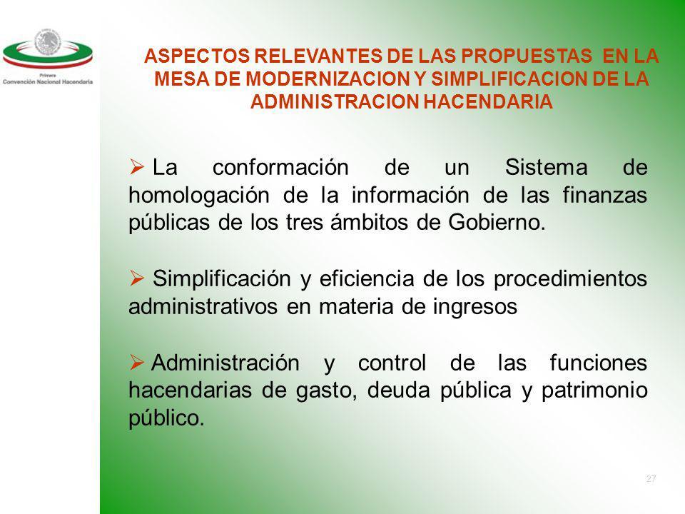 ASPECTOS RELEVANTES DE LAS PROPUESTAS EN LA MESA DE MODERNIZACION Y SIMPLIFICACION DE LA ADMINISTRACION HACENDARIA