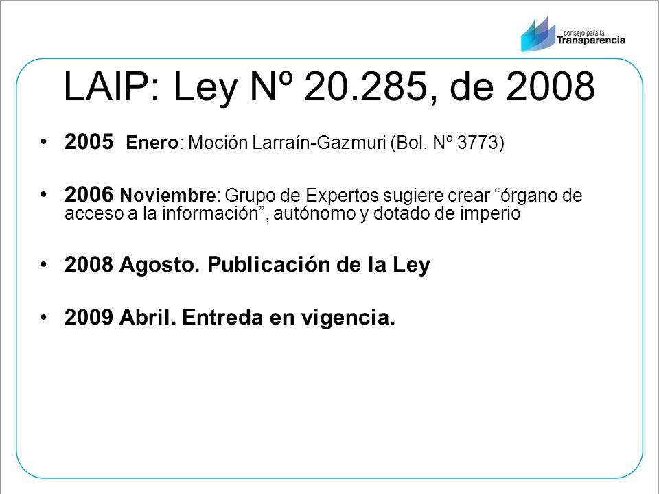 LAIP: Ley Nº 20.285, de 2008 2005 Enero: Moción Larraín-Gazmuri (Bol. Nº 3773)