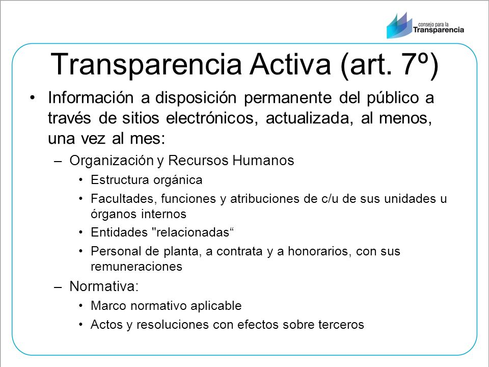 Transparencia Activa (art. 7º)