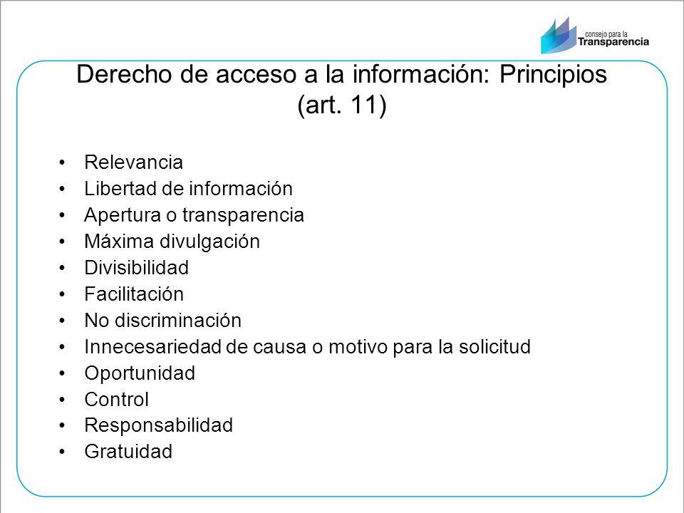 Derecho de acceso a la información: Principios (art. 11)