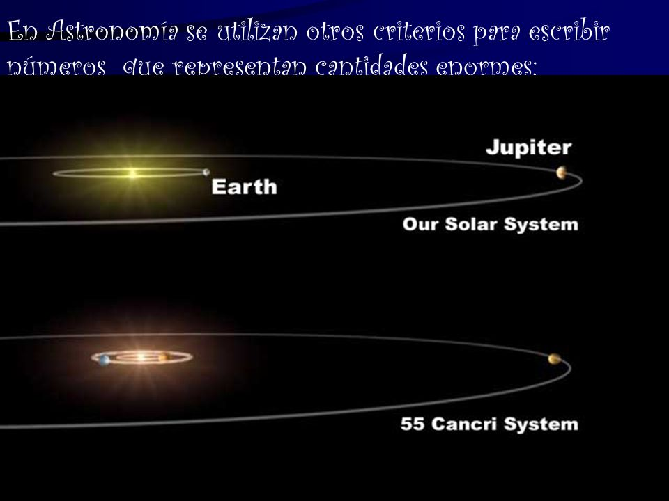 En Astronomía se utilizan otros criterios para escribir números que representan cantidades enormes: