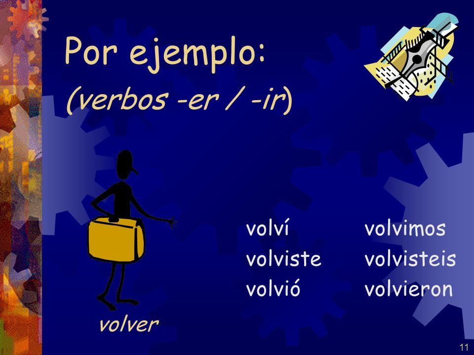 Por ejemplo: (verbos -er / -ir) volver volví volviste volvió volvimos