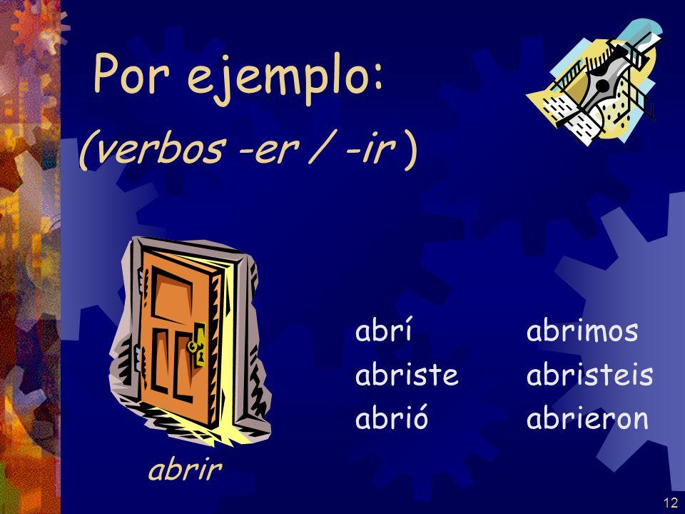Por ejemplo: (verbos -er / -ir ) abrir abrí abriste abrió abrimos