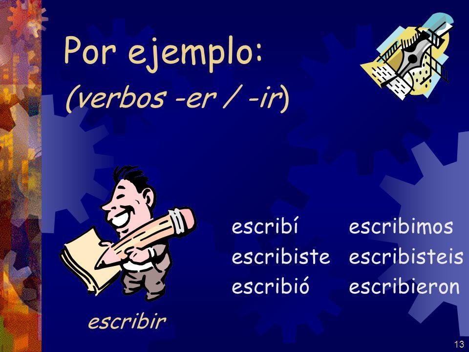 Por ejemplo: (verbos -er / -ir) escribir escribí escribiste escribió