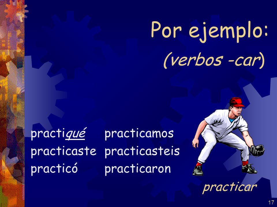 Por ejemplo: (verbos -car) practicar practiqué practicaste practicó