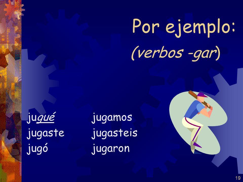 Por ejemplo: (verbos -gar) jugué jugaste jugó jugamos jugasteis