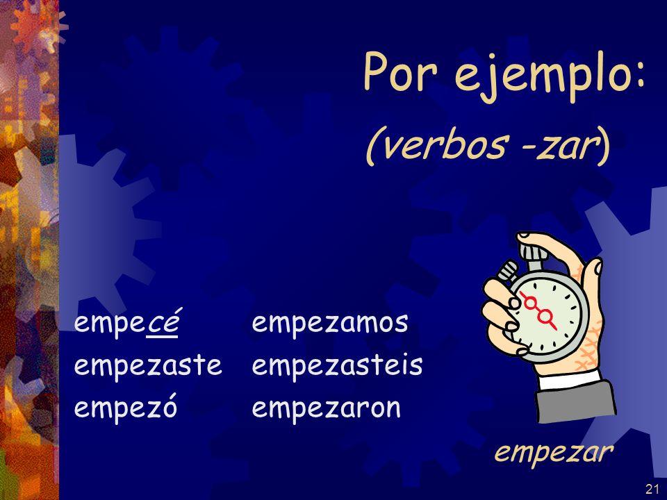 Por ejemplo: (verbos -zar) empezar empecé empezaste empezó empezamos