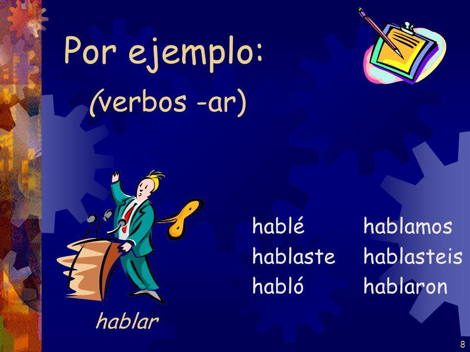 Por ejemplo: (verbos -ar) hablar hablé hablaste habló hablamos