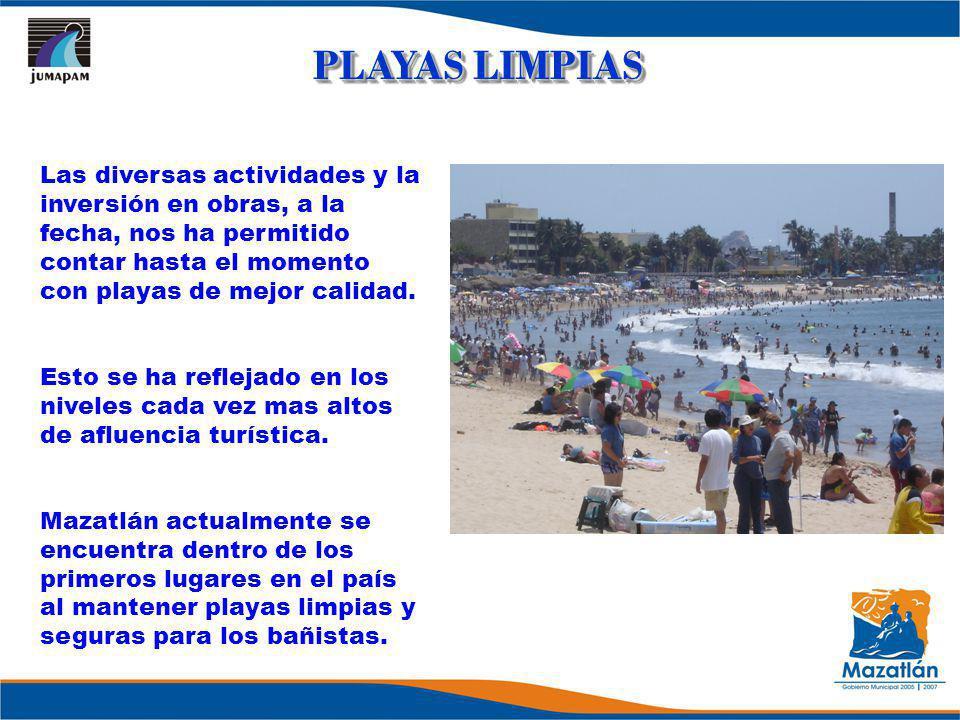 PLAYAS LIMPIAS Las diversas actividades y la inversión en obras, a la fecha, nos ha permitido contar hasta el momento con playas de mejor calidad.