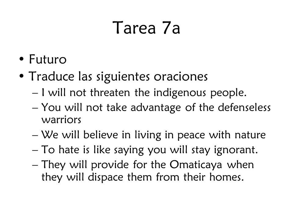 Tarea 7a Futuro Traduce las siguientes oraciones