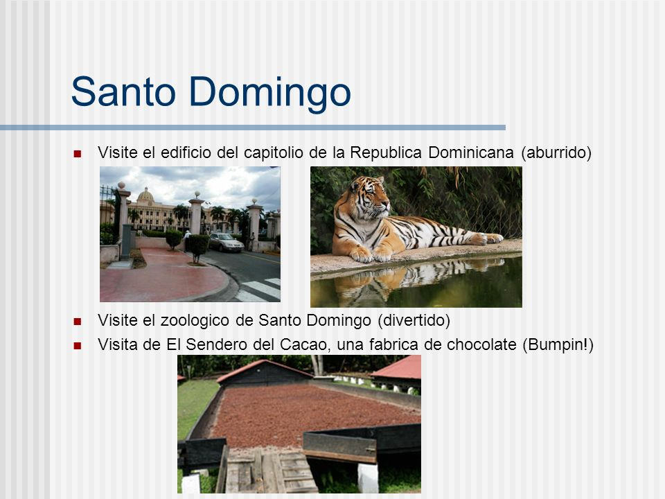 Santo DomingoVisite el edificio del capitolio de la Republica Dominicana (aburrido) Visite el zoologico de Santo Domingo (divertido)
