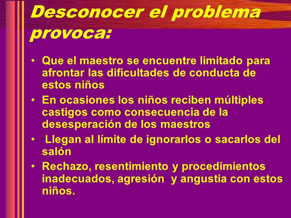 Desconocer el problema provoca: