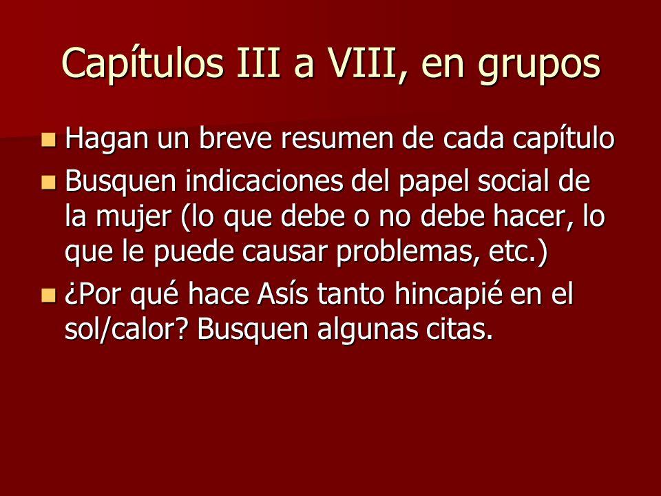 Capítulos III a VIII, en grupos