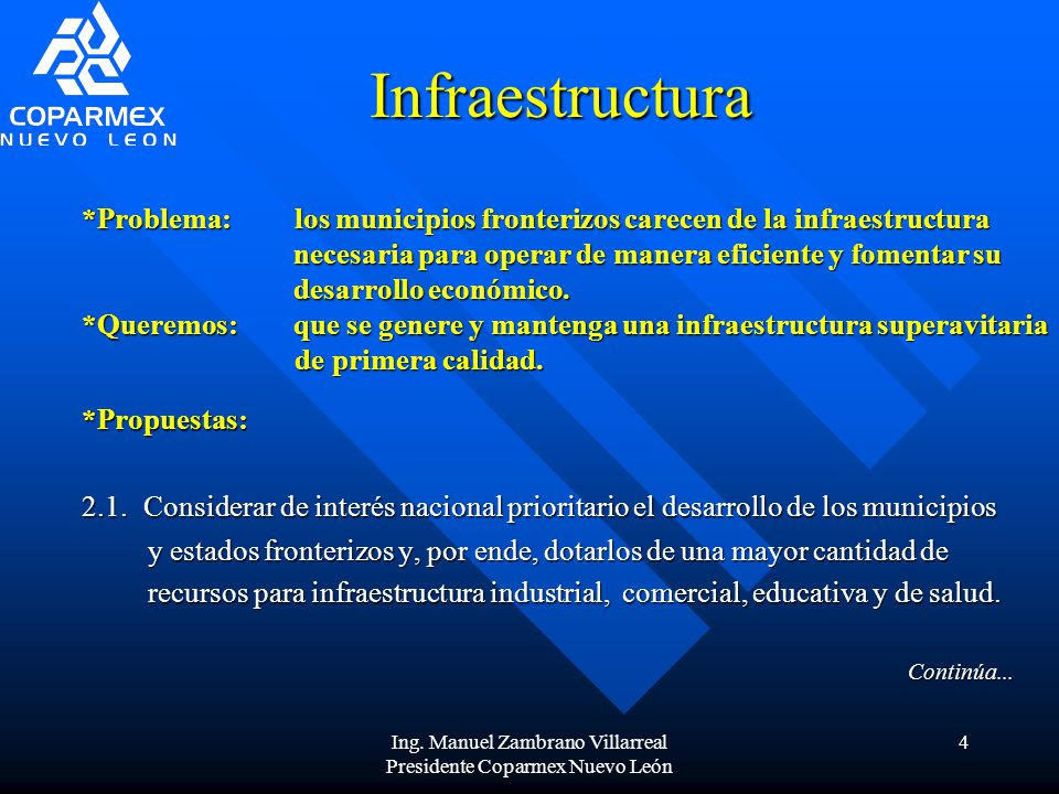 Ing. Manuel Zambrano Villarreal Presidente Coparmex Nuevo León
