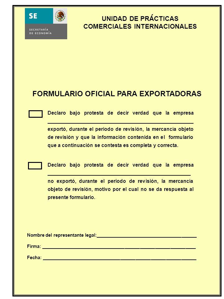 FORMULARIO OFICIAL PARA EXPORTADORAS