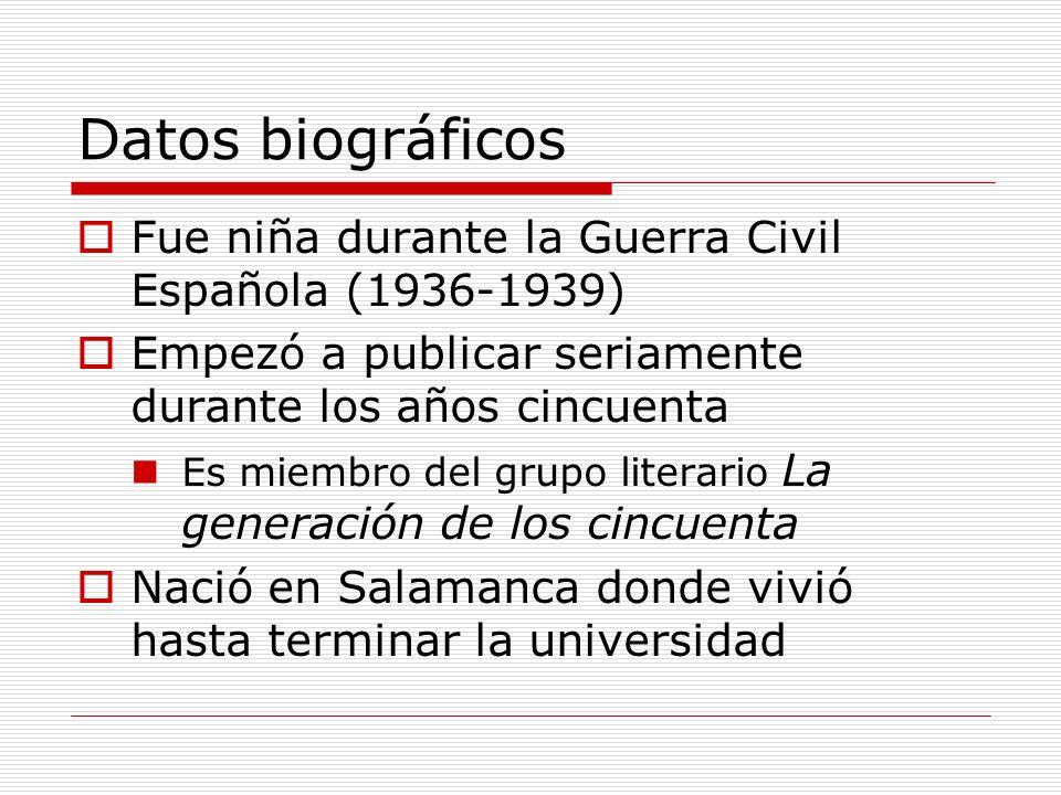 Datos biográficos Fue niña durante la Guerra Civil Española (1936-1939) Empezó a publicar seriamente durante los años cincuenta.