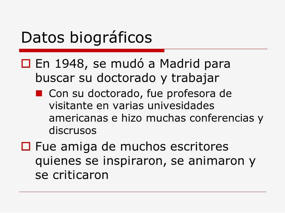 Datos biográficos En 1948, se mudó a Madrid para buscar su doctorado y trabajar.