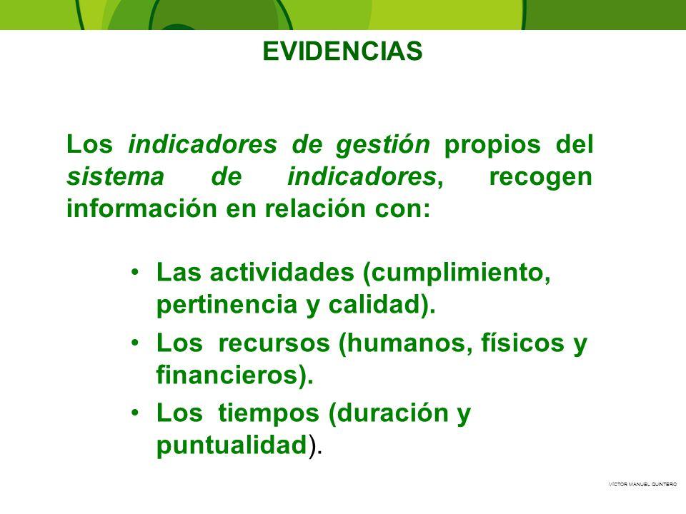 EVIDENCIAS Los indicadores de gestión propios del sistema de indicadores, recogen información en relación con: