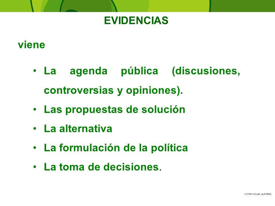 La agenda pública (discusiones, controversias y opiniones).