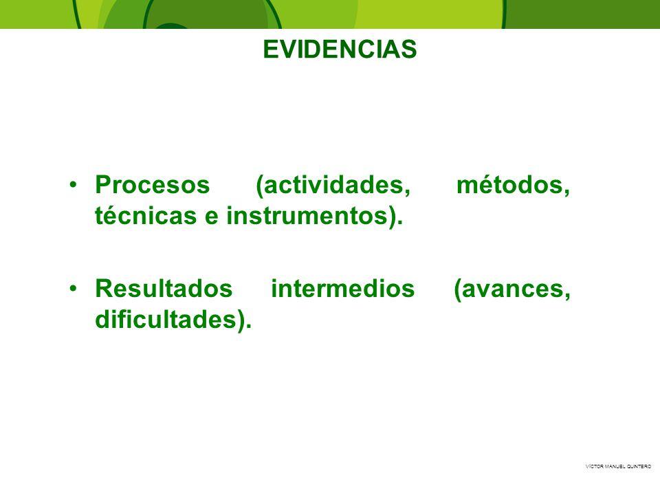 Procesos (actividades, métodos, técnicas e instrumentos).