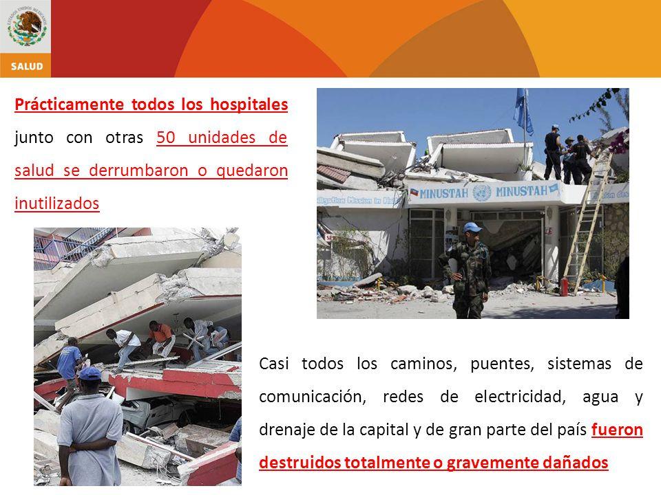 Prácticamente todos los hospitales junto con otras 50 unidades de salud se derrumbaron o quedaron inutilizados