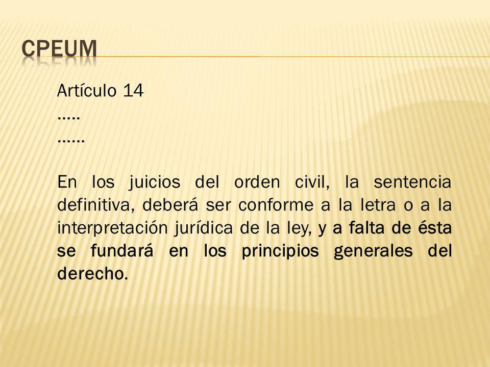 CPEUM Artículo 14. ….. ……