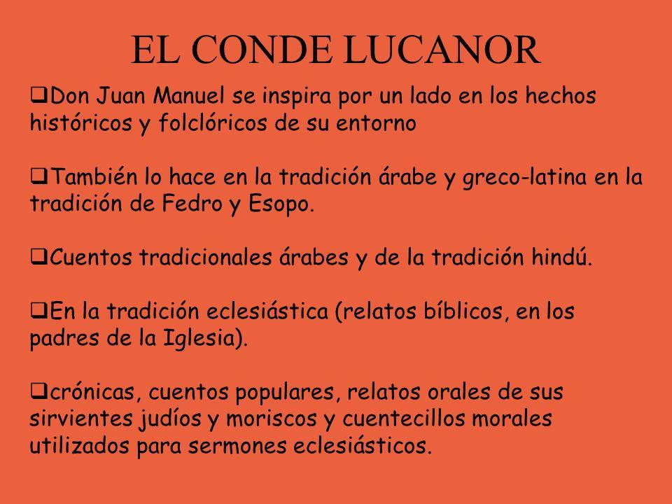 EL CONDE LUCANOR Don Juan Manuel se inspira por un lado en los hechos históricos y folclóricos de su entorno.