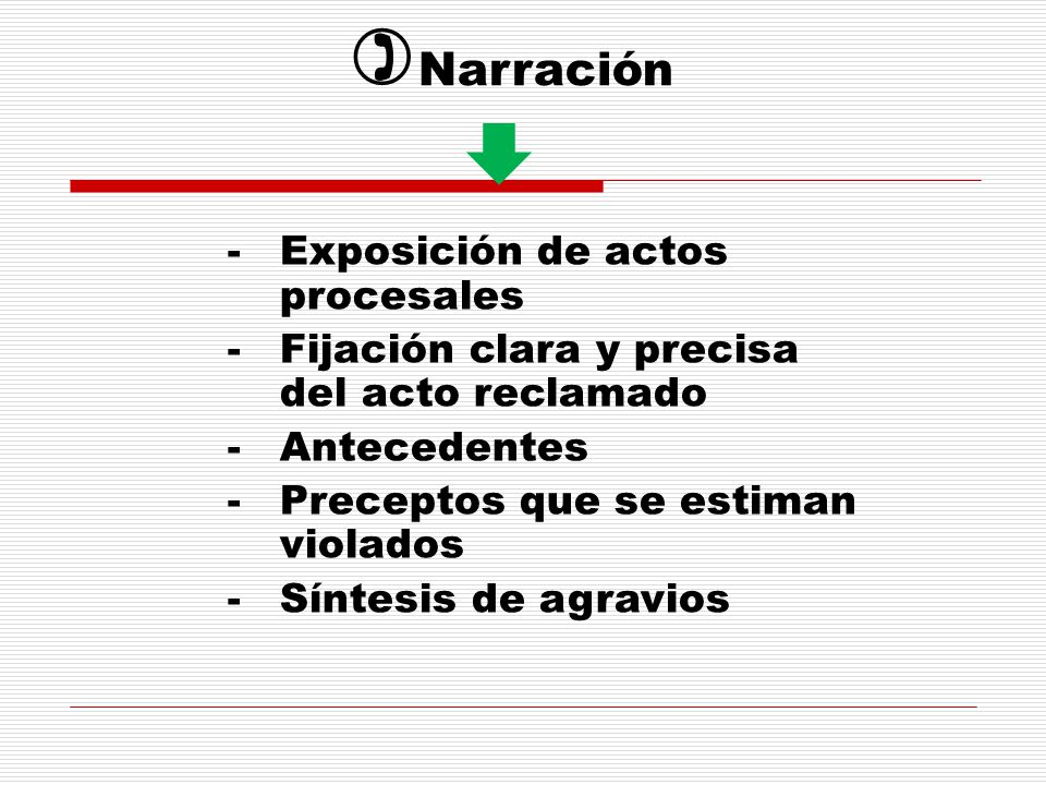 Narración Exposición de actos procesales